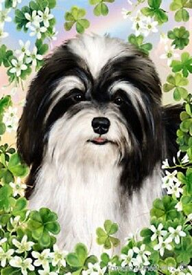 Garden Indoor/Outdoor Clover Flag - Black & White Havanese 310921