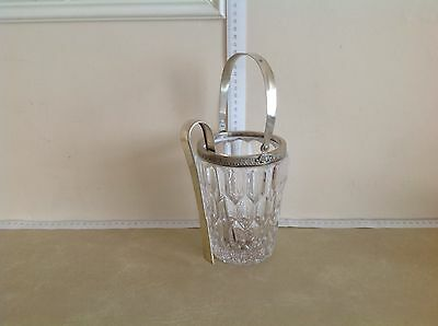Large Glass And Solid Silver Ice Bucket