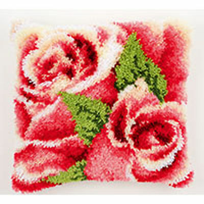 Latch Hook Cushion Front Kit by Vervaco 40x40cm Inc Tool - Roses Roses!