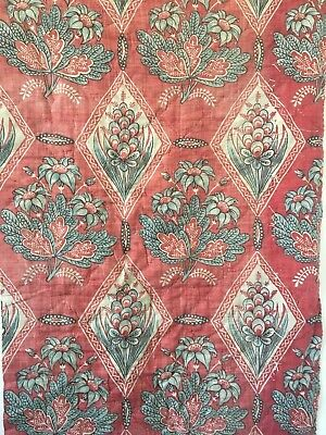 Rare Beautiful 18th C. French Cotton Block Printed Quilted Fabric (2295)