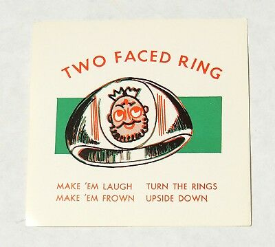 ESA0723. Vintage TWO FACED Toy Ring Vending Machine Paper Ad Piece (1960's) ~~