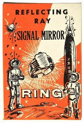 ESA0748 REFLECTING RAY SIGNAL MIRROR RING Vending Machine Ad Piece 1960s RARE ~~
