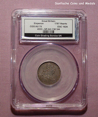 1787 KING GEORGE III SIXPENCE WITH HEARTS - Graded about Uncirculated by CGS