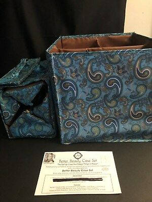 Joy Mangano Blue Paisley Beauty Case Set