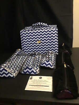 Joy Mangano Blue & White Beauty Case Set