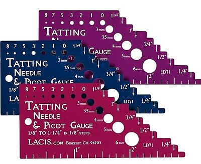 The Ultimate Tatting Gauge with Ruler for Both Needle and Shuttle Tatting