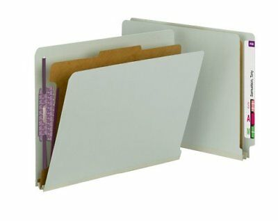 Smead 26800 Gray/green End Tab Pressboard Classification Folders With Safeshield