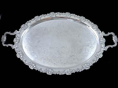 19th c. Top Quality OLD SHEFFIELD PLATE Silverplate SERVING TRAY Grape & Vine