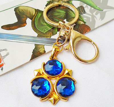 The Legend of Zelda Blue Ocarina of Time Zora's Sapphire Link Keychain Keyring