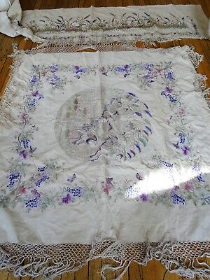 Antique Textiles- Two Panels, Chinoiserie Embroidery,koi Fish,herons,lotus Pond