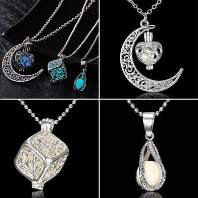 Magic Fairy Glow in the Dark Pendant Locket Moon Necklace Luminous Jewelry Gift