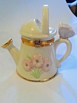 Lenox Sunshine N Sprinkles Watering Can Trinket Box Water Can with Charm