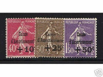 """FRANCE STAMP TIMBRE 266 / 268 """" 4e SERIE CAISSE AMORTISSEMENT 1930"""" NEUF xx TTB"""