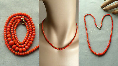 GUFG 珊瑚项链 antique natural coral pearl necklace Korallenkette Koralle Perle Kette