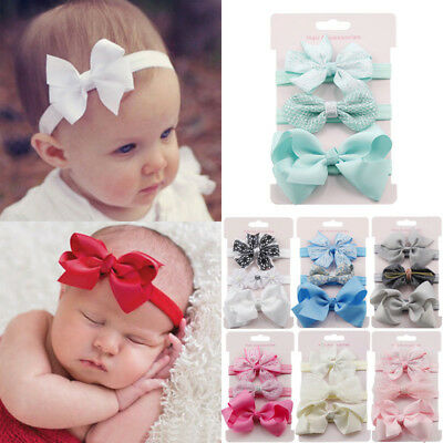 3pcs/Set Newborn Headband Ribbon Elastic Baby Headdress Kids Girl Bow Hair Band