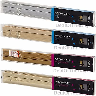 PVC Venetian Blinds Wooden Wood Grain Effect Teak Natural White Cream Window