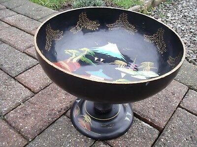 Japanese Black Lacquer Bowl Black Lacquer Ware Wood Bowl Mountain scenery.