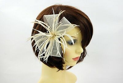 Ivory cream feather pearl bow net hairclip FASCINATOR Races  Wedding