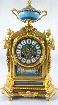 Lovely Antique French 19th c gilt ormolu bronze & Sevres porcelain mantle clock