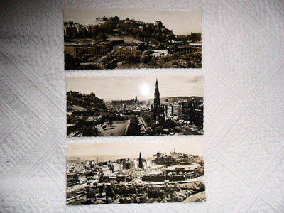 "3 X VALENTINE'S ""Panorama"" POSTCARDS OF EDINBURGH-£3.99 BUY NOW-FREE UK POSTAGE"