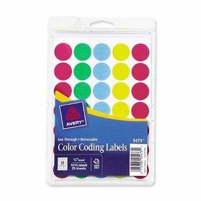 """Avery See-through Color Dots Label - 0.75"""" Diameter - 1000 / Pack - (ave05473)"""