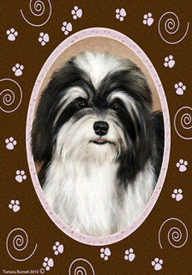 Large Indoor/Outdoor Paws Flag - Black & White Havanese 17092
