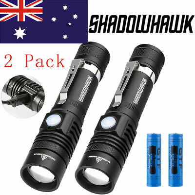2 Pack 50000lm Shadowhawk CREE XM-L T6 LED Flashlight USB Rechargeable Torch