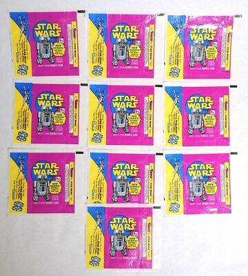 ESZ3460. Vintage Lot of 10: STAR WARS Gum & Cards Wax WRAPPER Topps (1972) [