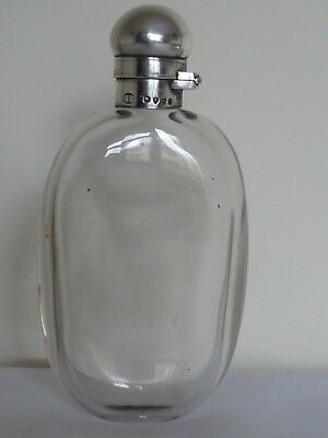 Small Victorian pocket hip flask / bottle with locking solid silver hinged top