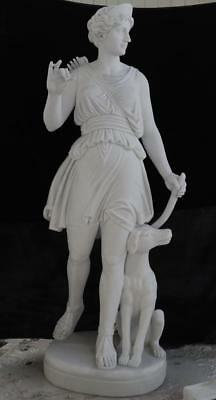 Beautiful Hand Carved Good White Marble European Diana Estate Statue - Cdms1