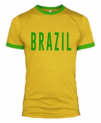 Brazil Text Retro T Shirt Kit Football Supporters Clothing World Cup 2018  L254