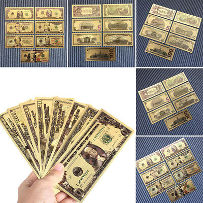 7 PCs/Set Gifts Gold Plated Ancient Dollars Collection Antique Art Banknotes
