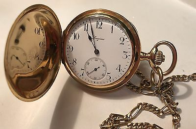 Longines with leontina year 1920 gold law with three caps @ MINT CONDITION @
