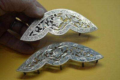 FLEMING Sterling Silver Floral Filigree Cut SADDLE CORNER PLATES * Outrageous *