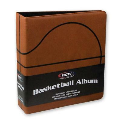 """1 case of 6 BCW Brand 3"""" Premium Brown Basketball Collector Album Textured Cover"""