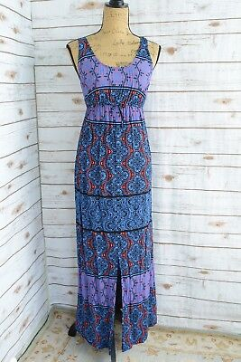 Eight Sixty PEA IN THE POD - Blue RED Black geometric rayon MAXI dress, size S