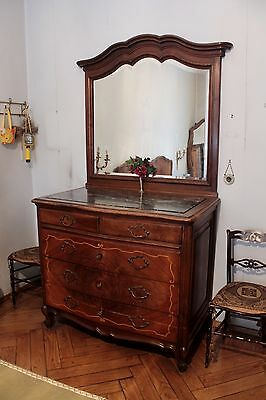 Dresser With Mirror Wooden Walnut / Dresser / Drawers / Mirrors