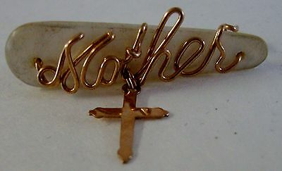 Vintage Carved Mother of Pearl with Mother Spelled Out In Gold Filled Wire