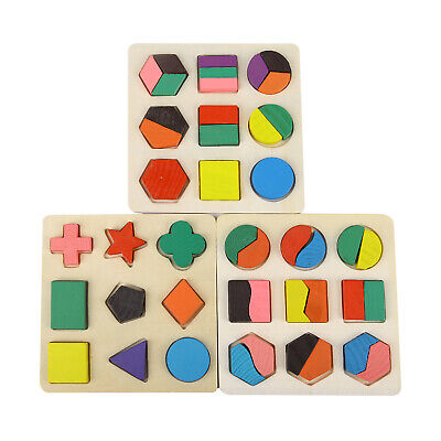 Baby Kids Wooden Geometry Block Puzzle  Early Learning Educational Toy
