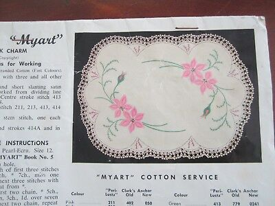 Myart Doily Runner with Instructions to embroider & crochet edge