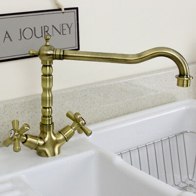 Astini Traditional Old Bronze Twin Handle Kitchen Sink Mixer Tap 25411B