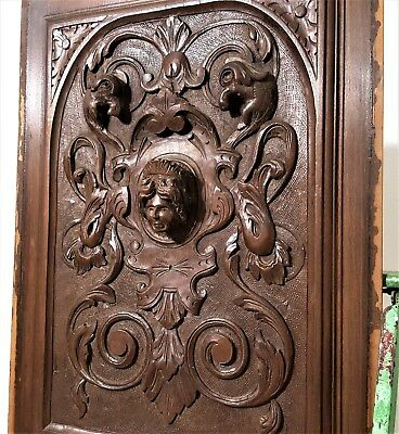 Gothic Queen Figure Panel Antique French Hand Carved Wood Architectural Salvage