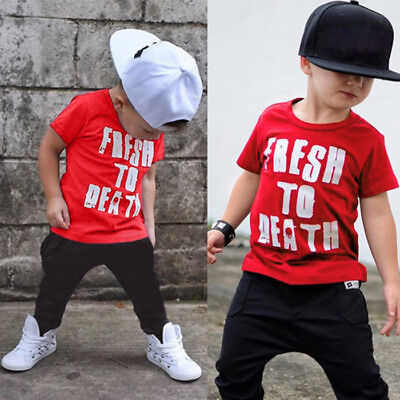 2PCS Toddler Kids Baby Boy Short Sleeve Tops T-shirt+Long Pants Tracksuit Outfit