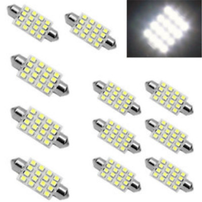 3PCS White 42mm 16SMD Car LED Festoon Dome Map Interior Cargo Light Bulbs 578 JT