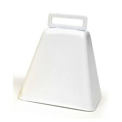 "ONE Large Metal COW BELL WHITE 3"" high w/ handle Pep Rally Band Music Decorate!"