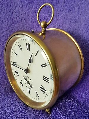 Antique Alarm Clock Carriage Brass Mantel Clock Fully Working Condition