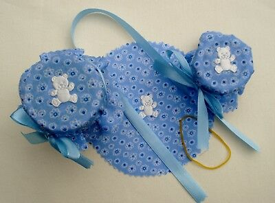 10 Baby Boy Teddy Blue Shower Christening Favour Jam Jar Covers + Ties & Bands
