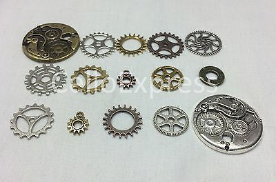Cogs Gears Steampunk Charms for Pendants - Antique Silver, Golden and Red Copper
