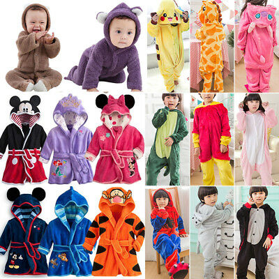 Kids Baby Bathrobe Animal Kigurumi Cosplay Costume Romper Pajamas Sleepwear Pjs