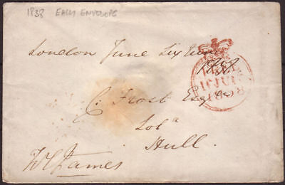 1838 Pre-Stamp Early Envelope Free Frank & Branch Office Cancellations To Hull
